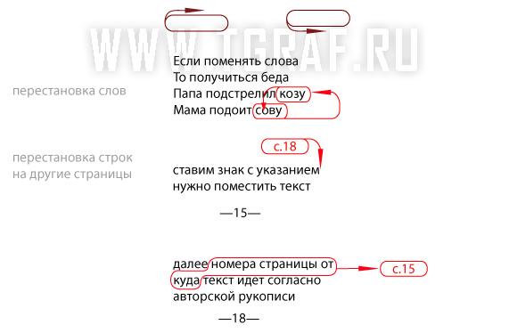 Корректорские знаки переноса слов или части текста с одной страницы на другую